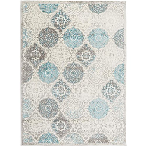 Home Dynamix Boho Andorra Area Rug |Modern Style with All-Over Print | Soft Distressted Texture | Neutral Living Room Rug | Gray-Blue, Ivory 5'2