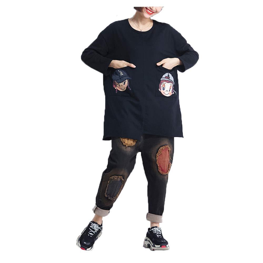 Easy Go Shopping La impresión Principal de la Historieta del Bolso de la Camiseta de Las Mujeres del tamaño Grande era suéter Salvaje Fino (Color : Black, Size : Free Size)