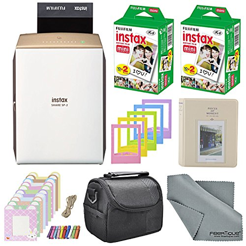 Fujifilm Instax SHARE Smartphone Printer SP-2 w/ 40 Sheets Instax Mini Instant Film, Photo Album, Mini Photo Frames, Paper Photo Frame, Small Case. and FiberTique Microfiber Cleaning Cloth by Xpix