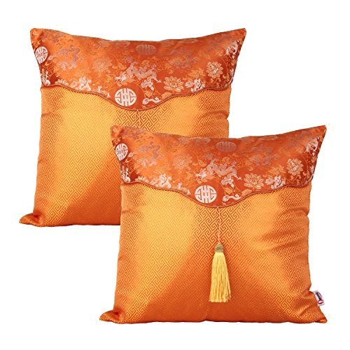 (Queenie® - 2 Pcs Silky Decorative Embroidered Chinese/oriental Pillowcase Cushion Cover for Sofa Throw Pillow Case 16 X 16 Inch 40 X 40 Cm (CS 35 Color Orange))