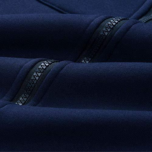 avec Taille Outwear Uni A Costume Cordon Serrage Capuche Automne Veste Jacket Manteau Longues Grande Elgante Manches Manche Longues Hiver Blau Dsinvolte De Femme Bouffant Fashion PwHRp