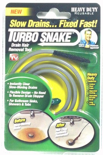 Turbo Snake Drain Hair Removal Tool As Seen on Tv Fix Slow Drains (2 (Turbo Snake Drain)