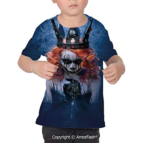 PUTIEN Queen Boys and Girls All Over Print T-Shirt,Crew Neck T-Shirt,Queen of Death SCA ()