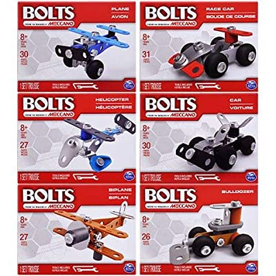 Bolts from The Makers of Meccano Set of 6 Building Erector Sets Race Car, Car, Helicopter, Plane, Biplane, Bulldozer : Baby