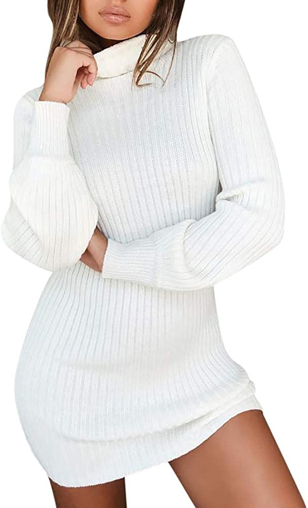 Womens Long Sleeve Turtleneck Jumpers Rikay Casual Knitted Dress Pullover Sweater Tunic Tops 6 Colors Size 8-14 UK