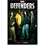 Mike Colter 8 Inch x 10 Inch PHOTOGRAPH Luke Cage (TV Series 2016 - ) Standing w/Cast for The Defenders Title Poster kn