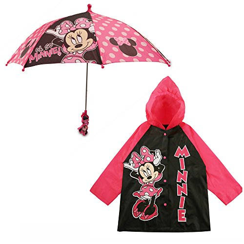 Disney Girls' Little Assorted Characters Slicker and Umbrella Rainwear Set, Dark Pink Minnie Mouse, Age 2-3