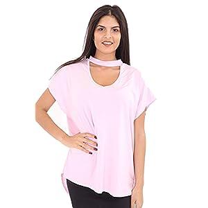 db2fb474ea3 mafhh55® Womens Lagenlook Baggy Oversized Choker Neck Keyhole Cut Short Sleeve  Tee T Shirt Top