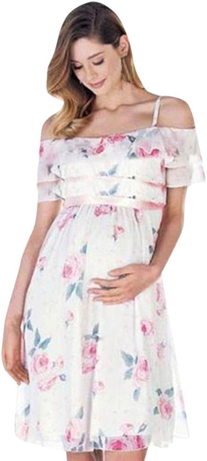 Allence Umstandskleid, Kleidung Damen Mutter Floral schwanger