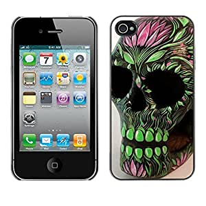MobileHut / Apple Iphone 4 / 4S / Skull Floral Art Native Green Death / Delgado Negro Plástico caso cubierta Shell Armor Funda Case Cover