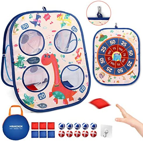 Board Games,Kids Game Dart Board,Bean Bag Toss Game Toy 3 in 1 Game Set for Kids Toddlers, with 6 Cornhole Bean Bags & 10 Sticky Balls, Collapsible Yard Outdoor Games for adults & family Gift for Kids