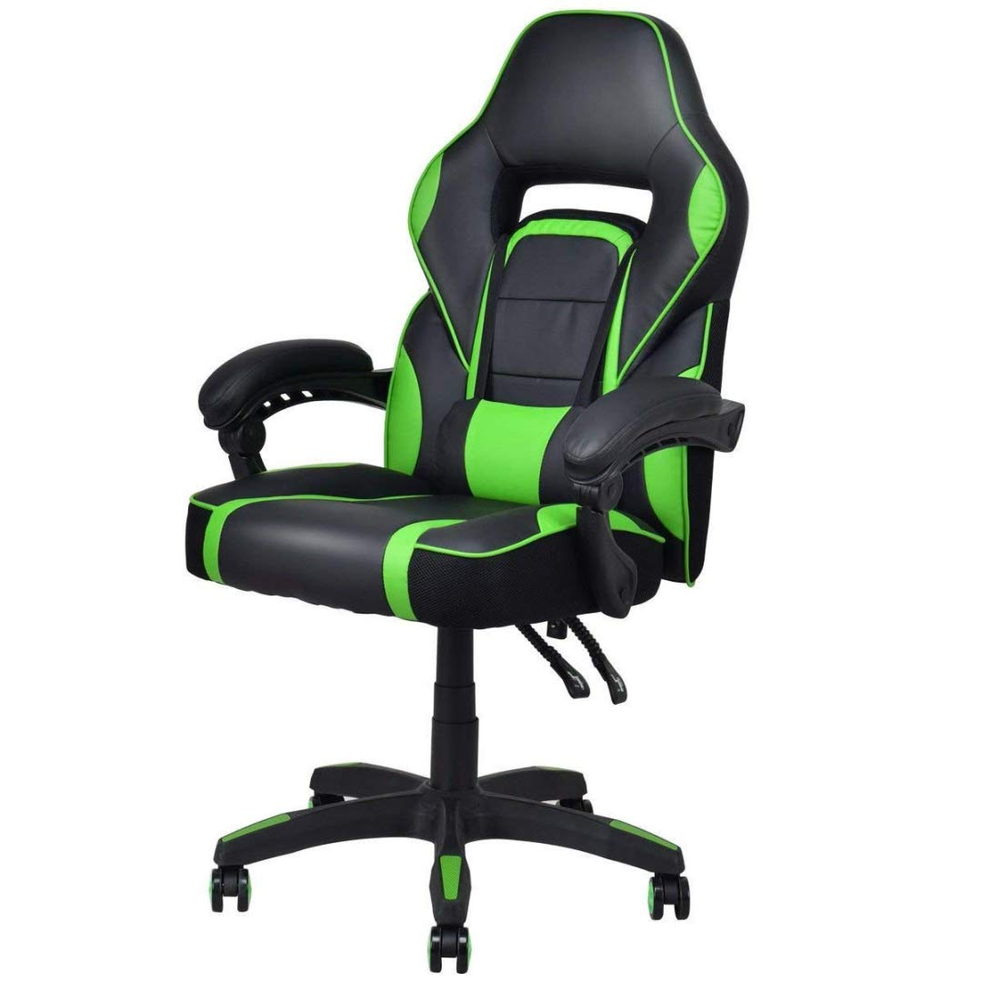 Modern Racing Style Gaming Chairs Thick Padded Seat PU Leather Upholstery Adjustable Recline Design Chair with Waist Pillow Home Office Furniture Decor - (1) Green #2115 by KLS14