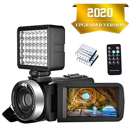 Camcorder Video camera Full HD 1080P 30FPS 24.0MP Digital Camera Night Vision Vlogging Camera 18x Digital Zoom 3.0″IPS 270° Rotation Screen With Night Vision Fill Light Remote Control and 2 Batteries