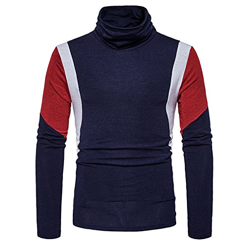 Toping Fine Men's Knitted Sweaters Casual Slim Fit Turtleneck Sweater Cotton Crochet Male Pullover 2XL NavySmall by Toping Fine Pullover-sweaters