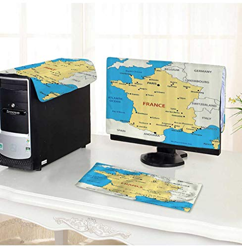 Leighhome Keyboard dust Cover Computer 3 Pieces Map of France Country French Territory Channel Mediterranean Computer dust Cover /32
