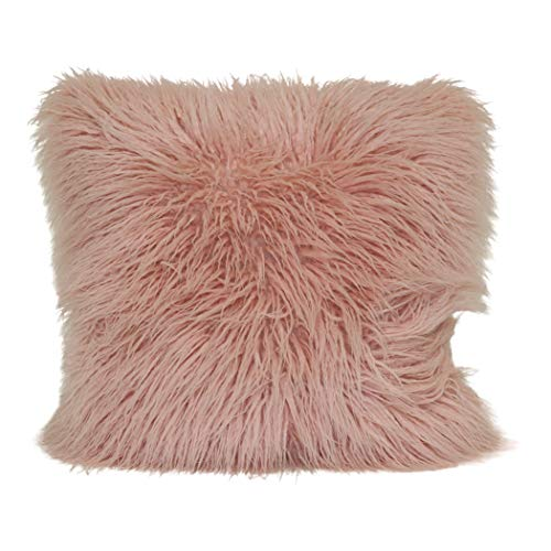 Brentwood Originals Mongolian Pillows, 18x18, Blush (Pillow Fur Blush)