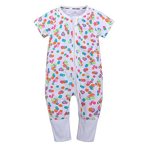 - Kids Tales Baby Boys Girls Zipper Short Sleeve Pajama Sleeper Cotton Romper(Size 3M-3T)