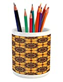 Lunarable Arabian Pencil Pen Holder, Traditional Old Fashion Arabesque Ornate Mosaic Triangle Patterns in Retro Ancient, Printed Ceramic Pencil Pen Holder for Desk Office Accessory, Multicolor