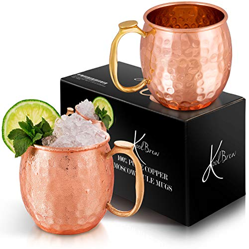 KoolBrew Moscow Mule Copper Mugs Gift Set of 2 Copper Mules,100% Pure Solid Copper Cups with Brass Handles, Hammered Finish - Elegant Brass Cup