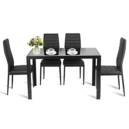 Kitchen Table Set For Dinner On Nexttechnology Dining Table Set Piece Rectangular Glass Kitchen Dinner Room Sets With Pu Leather Amazoncom
