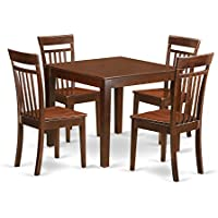 East West Furniture OXCA5-MAH-W 5Piece Small Kitchen Table Set with One Oxford Dining Room Table & Four Dining Room Chairs in Mahogany Finish