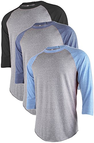 TL Men's Active Basic 3/4 and Long Sleeve Baseball Raglan Crew Neck Shirt SET3_LGRBLU_LGRBK_LGRNAV M by TOP LEGGING