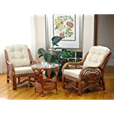 Malibu Set of 2 Chairs Natural Rattan Wicker with Cream Cushions and Round Coffee Table ECO Handmade, Colonial