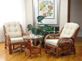 Malibu Set of 2 Chairs Natural Rattan Wicker with Cream Cushions and Round Coffee Table ECO Handmade, Colonial For Sale