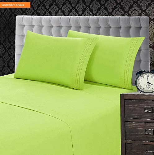 Mikash New Soft 1500 Thread Count Luxury Egyptian Quality Wrinkle and Fade Resistant 4-Piece Sheet Set, Full, Lime-Green | Style 84599246