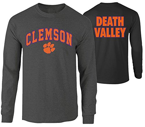 Elite Fan Shop NCAA Men's Clemson Tigers Long Sleeve Shirt Dark Heather Back Clemson Tigers Dark Heather XX Large