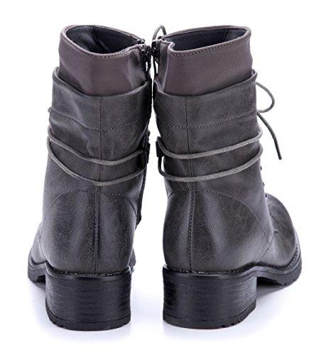 Schuhtempel24 Damen Schuhe Klassische Stiefeletten Stiefel Boots Blockabsatz 4 cm Grau