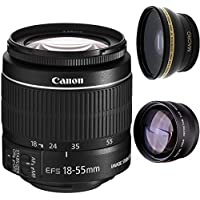 Canon 18-55mm IS STM Lens (WHITE BOX) + High Definition Wide Angle Auxiliary Lens + High Definition Telephoto Auxiliary Lens
