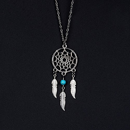(F.L.S Mini Dreamcatcher Women Pendant Gifts Bohemian Charm Handmade Dream Catcher With Alloy & Natural Stone NK001 Turquoise 1)