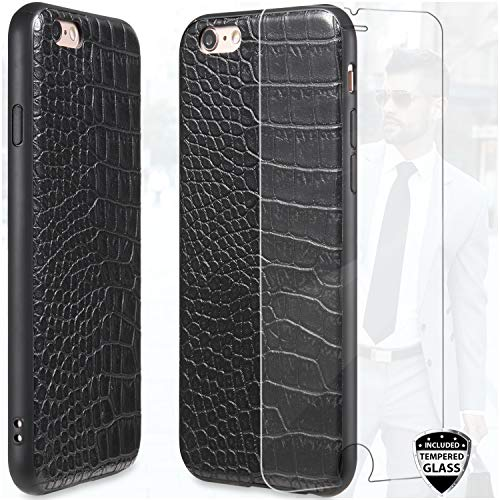 DICHEER Compatible iPhone 6 Case,iPhone 6s Case with Glass Screen Protector,Crocodile Pattern Black Leather for Men Women Girls,Ultra Slim Protective Cover Classy Case for iPhone 6/iPhone 6s (Iphone Cases Crocodile Leather 6)