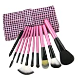 FINDING COLOR 10pcs Professional Makeup Eyebrow Shadow Cosmetic Brush Set Kit Case with Pouch