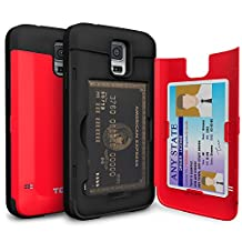 Galaxy S5 Case, TORU [S5 Wallet Case Red] Protective Slim Fit Dual Layer Hidden Credit Card Holder ID Slot Card Case with Mirror for Samsung Galaxy S5 / S5 Neo - Red