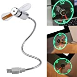 USB Led Fan with Clock, Flexible Mini USB-Powered Cooling Flashing Fan for PC, Laptop Notebook Desktops,Power Bank in Office Room or Camping