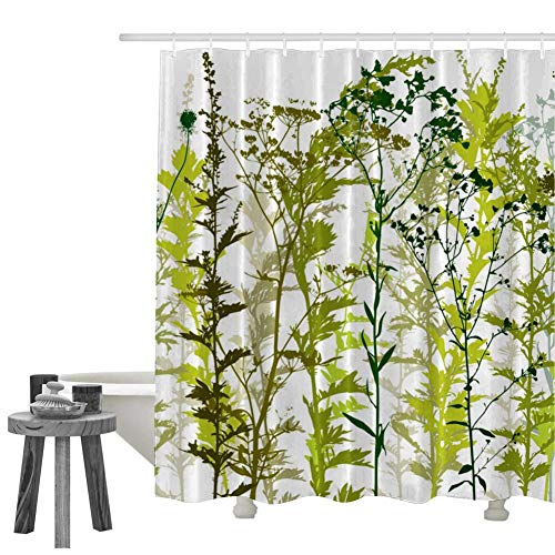 ZOMIOR Green Natural Hotel Quality Machine Washable Shower Curtain PVC Free Odorless Bathroom Curtain ()
