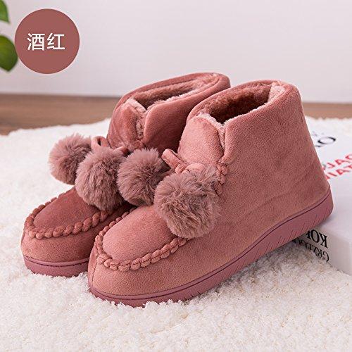 LaxBa Glisser sur lhiver au chaud en Fausse Fourrure Chaussons neige bordée Chaussures pour hommes Bourgogne39-40 inscrit 38-39