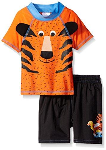 Price comparison product image Candlesticks Little Boys' Toddler Tiger Rash Guard Set, Orange/Black, 2T