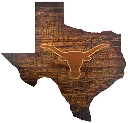 Texas Longhorns Cut Out - Ruskin352 Texas Longhorns 24inch x 23inch State Cutout with Logo Wood Sign