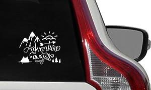 Adventure Awaits MTN Sun Tent Car Vinyl Sticker Decal Bumper Sticker for Auto Cars Trucks Windshield Custom Walls Windows Ipad MacBook Laptop Home and More (White)