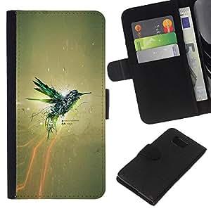 iBinBang / Flip Funda de Cuero Case Cover - IMPRESIONANTE COLIBRI - Samsung ALPHA G850