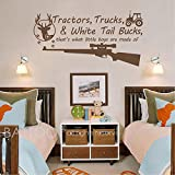 hunting trucks - BATTOO Tractors, Trucks White Tail Bucks - Little Boys Are Made of - Deer Tracks Boys Hunting Wall Decals Children Wall Decal Vinyl Art - Nursery Wall Vinyl Decal Vinyl(dark brown, 16