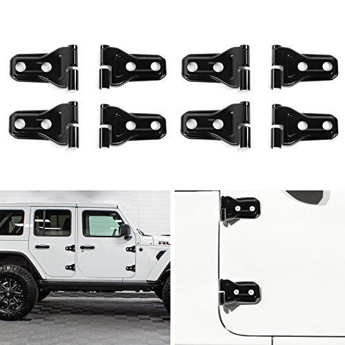 JeCar Black Door Hinge Trim Cover for 2018 Jeep Wrangler JL 4-Door(Pack of 8)