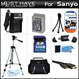 32GB Accessory Kit For Sanyo VPC-SH1 High Definition Camcorder Includes 32GB High Speed SD Memory Card + Extended (1300Mah) Replacement DB-L90AU Battery + AC/DC Travel Charger + Deluxe Case + Tripod + Mini HDMI Cable + USB 2.0 SD Reader + More