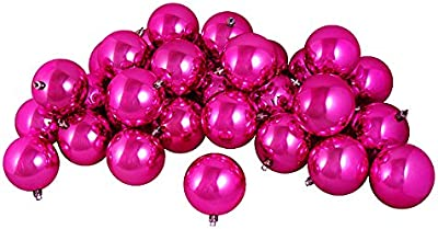 "Northlight 60 Count Shiny Pink Magenta Shatterproof Christmas Ball Ornaments, 2.5"""