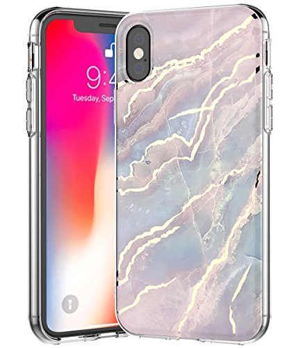 - iPhone Xs Case 2018,Spevert Marble Pattern Hybrid Hard Back Soft TPU Raised Edge Slim Protective Case Cover Compatible iPhone Xs 2018 5.8 inches - Blue