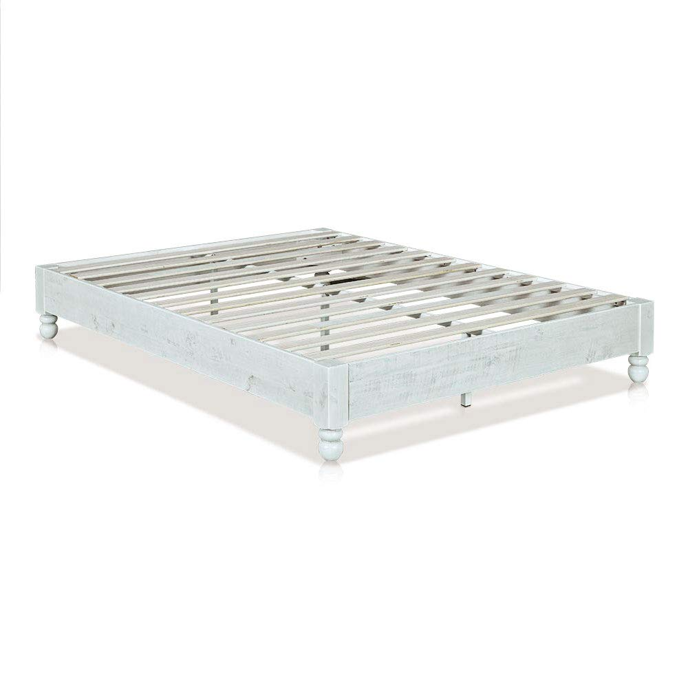 MUSEHOMEINC Wood Platform Bed Frame Rustic Style,Mattress Foundation no boxspring Needed , White Washed Finish, King