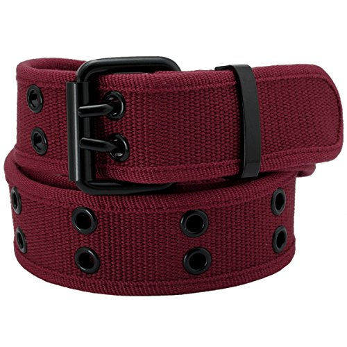 Samtree Canvas Web Belts for Men Women,Double Grommet Hole Buckle Belt(Wine Red)